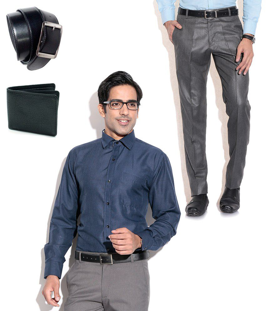 Fizzaro Alluring Combo of Gray Formal Trouser, Shirt, Belt & Wallet