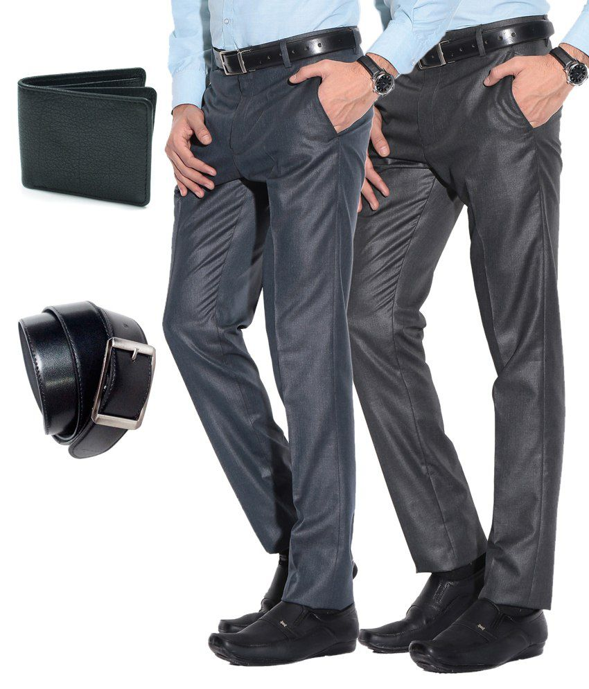 Fizzaro Black Slim Flat Trouser