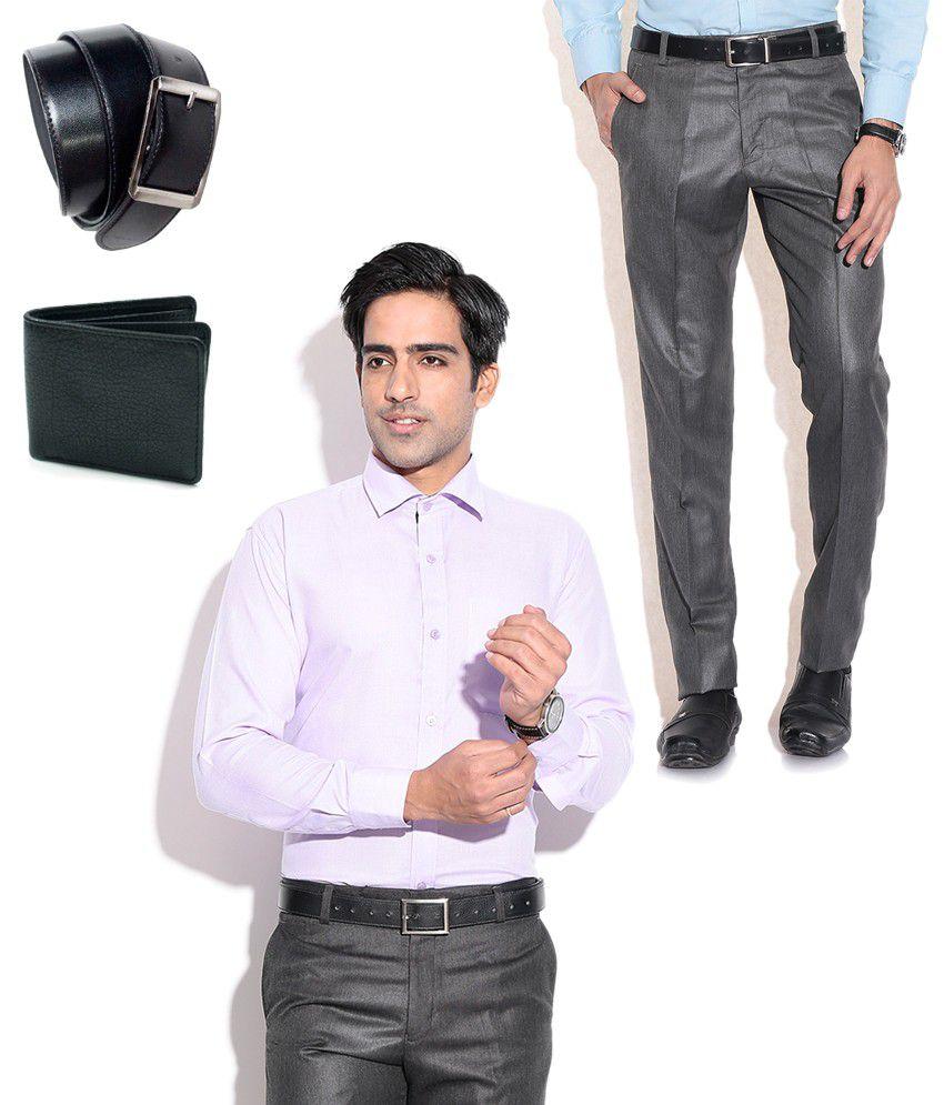 Fizzaro Combo of Gray Formal Trouser, Purple Shirt, Belt & Wallet