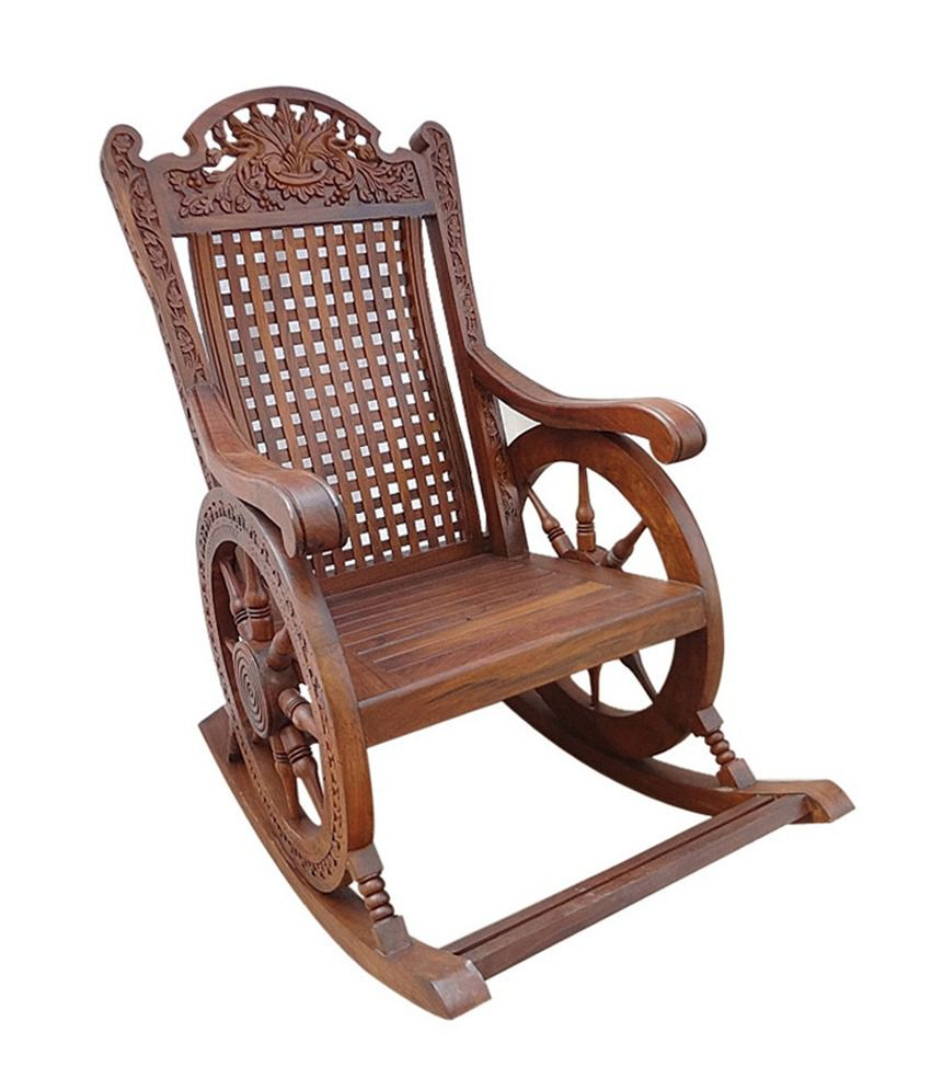 behome brown solid sheesham wood chariot designer rocking chair