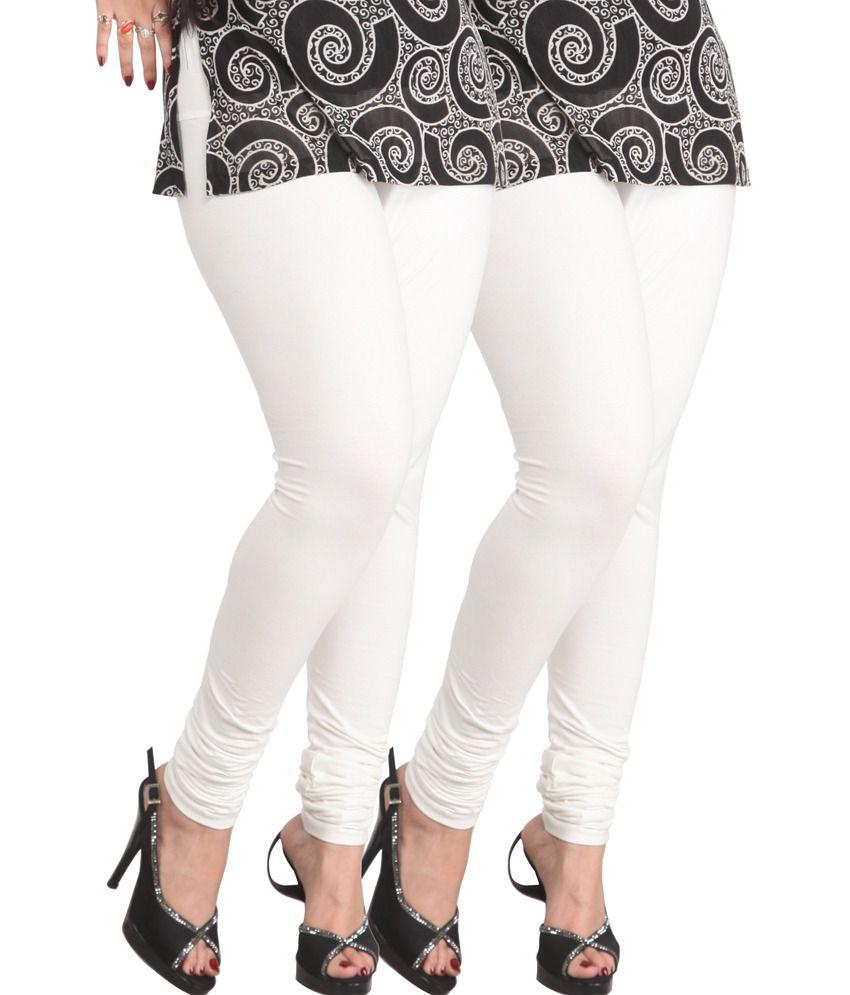 Lux Lyra White Cotton Churidar Leggings - Pack Of 2