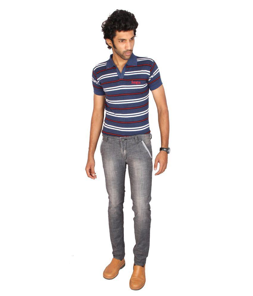 Fungus Gray Cotton Blend Jeans