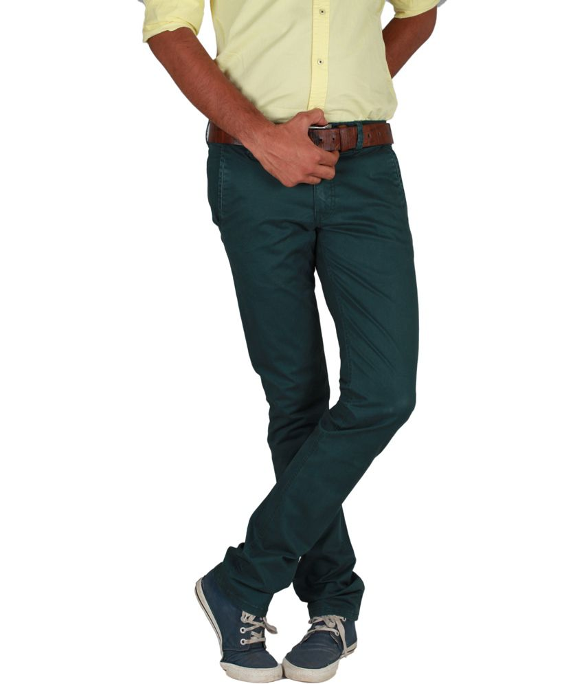 Ivoc Light Green Twill Lycra Cotton Trousers