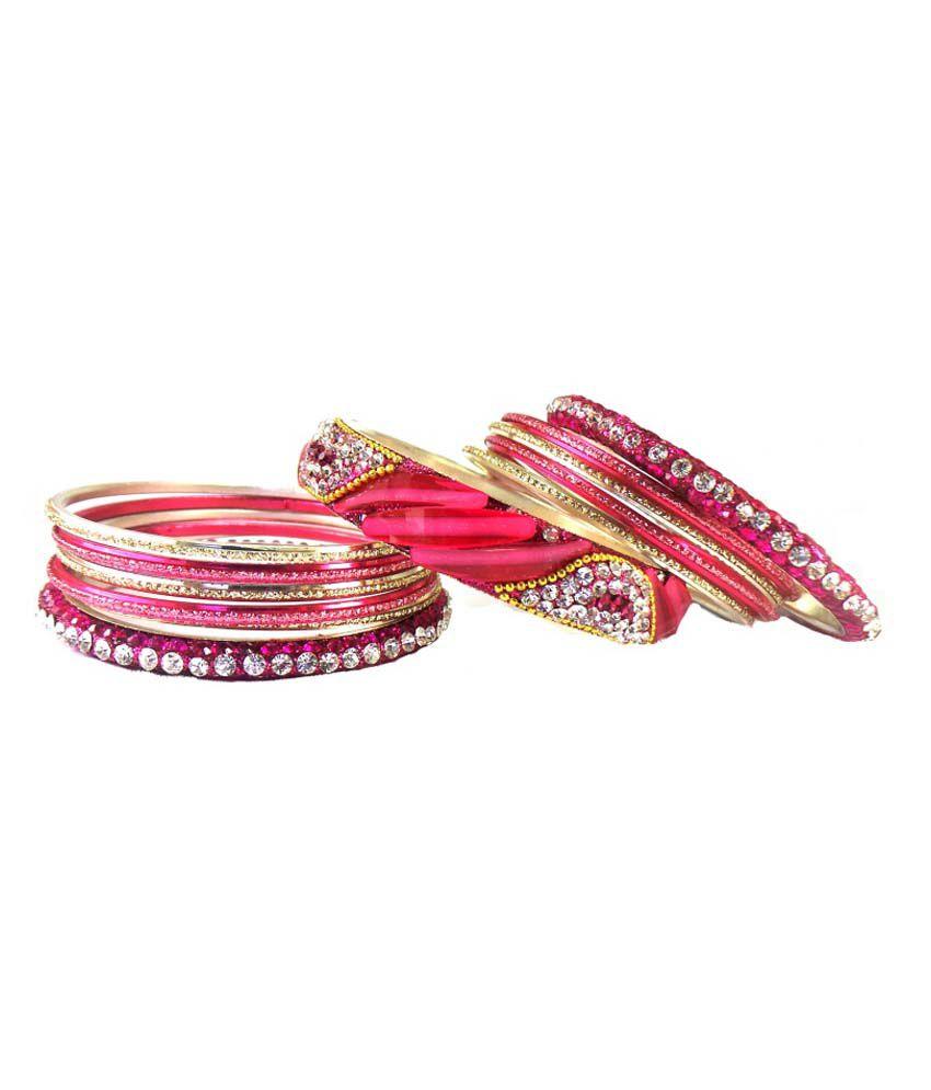 Modish Look Pink Princess Delight Brass Bangle Set