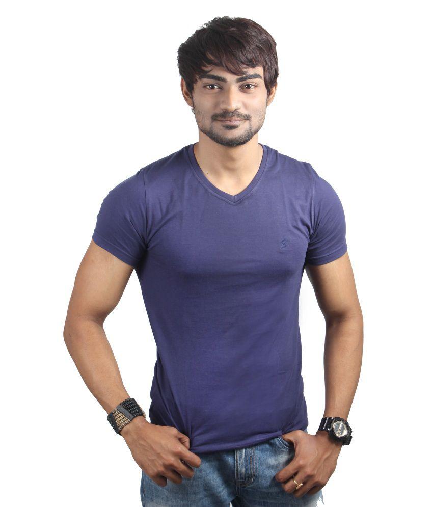 Spur Purple Cotton V-neck Half T-shirt