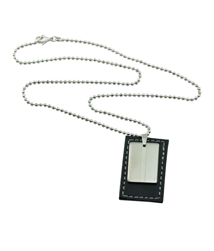 Alphaman Man Of Steel Black Leather Tag Stainless Steel-silver Neckpiece