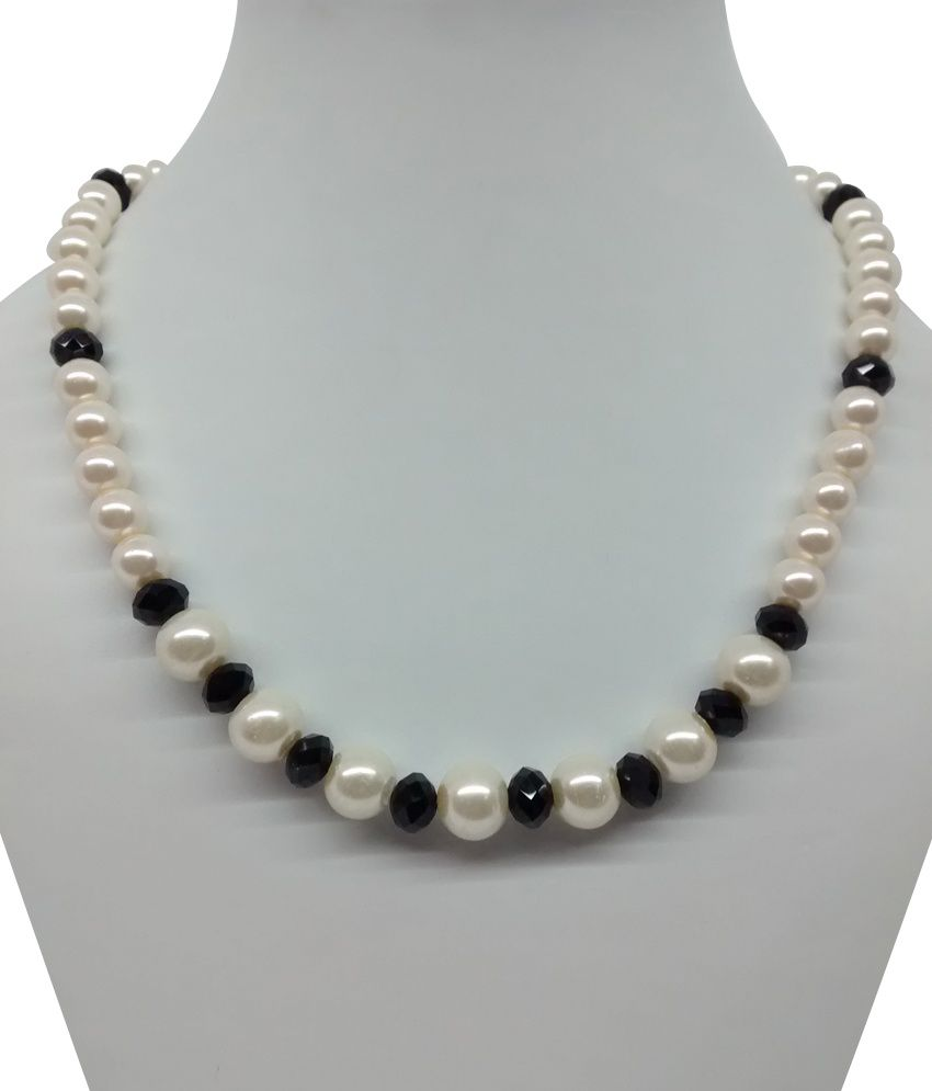 Single Line Beads: Bling N Beads Single Line Fancy Pearl With Black Crystal