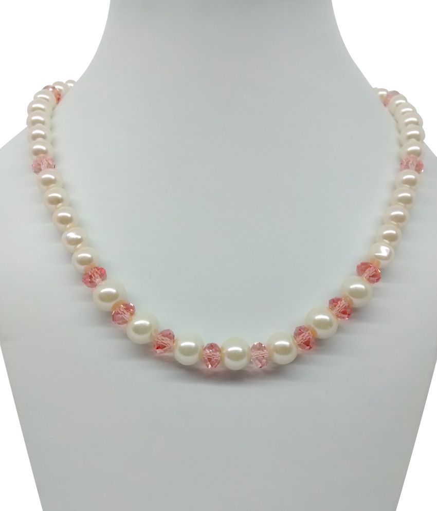 Single Line Beads: Bling N Beads Single Line Fancy Pearl With Pink Crystal