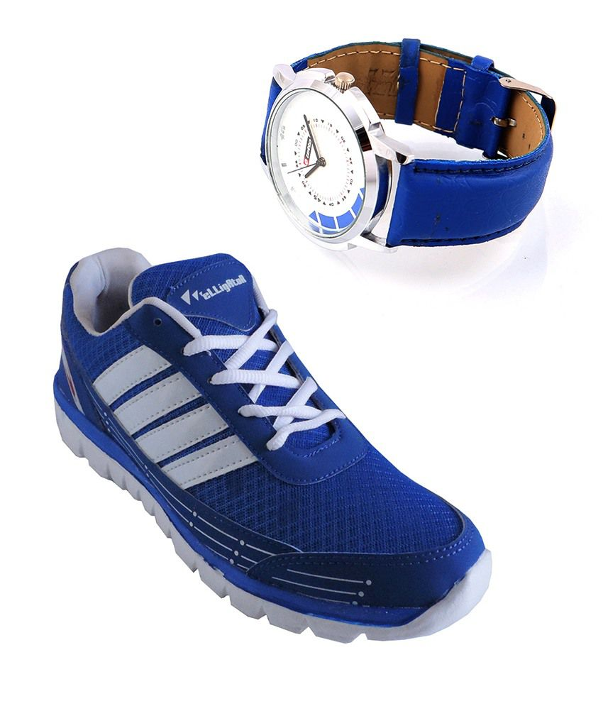 Elligator Royal Blue Sport Shoes And Lotto Blue Watch Combo