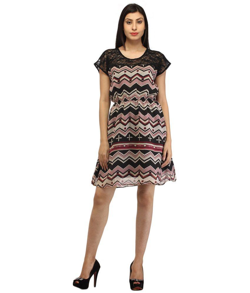 Feyona Black Poly Chiffon Dress