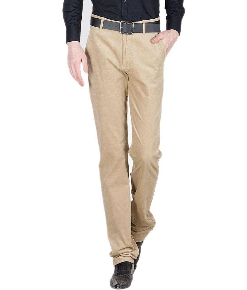 Ghpc Couduroy Beige Cotton Lycra Casual Trouser