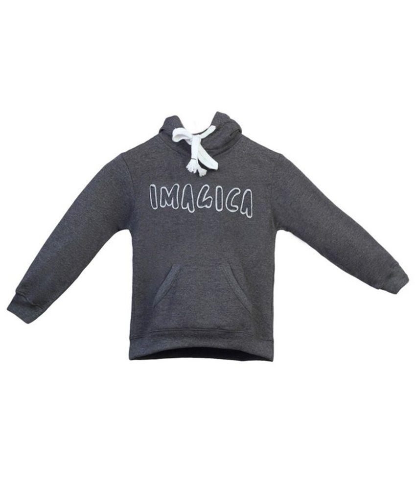 Imagica Warm Gray Hooded Sweatshirt For Girls