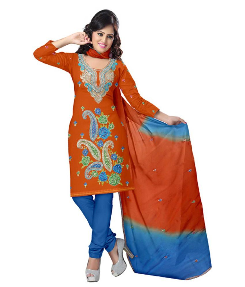 Sonal Trendz Orange Cotton Unstitched Dress Material