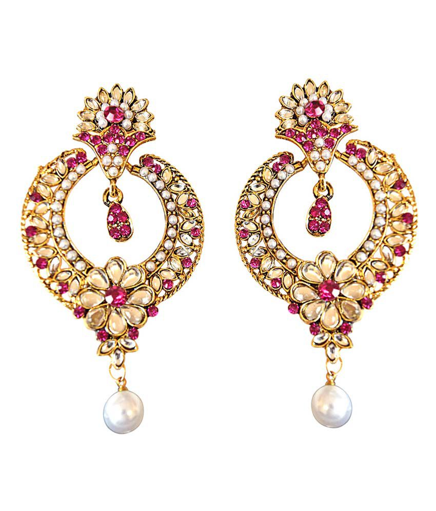 Surat Diamond Trendy Pink & White Coloured Stone, Shell Pearl Gold Plated Chand Bali Earrings