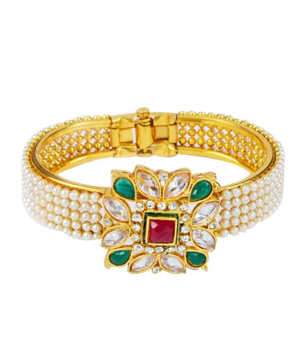 Goldencollections Glamourous Polki Studded Floral Bracelet