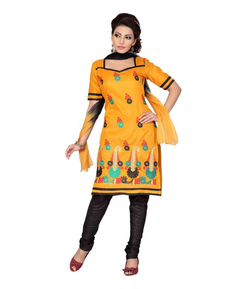 Ishin Multi Color Cotton Unstitched Dress Material