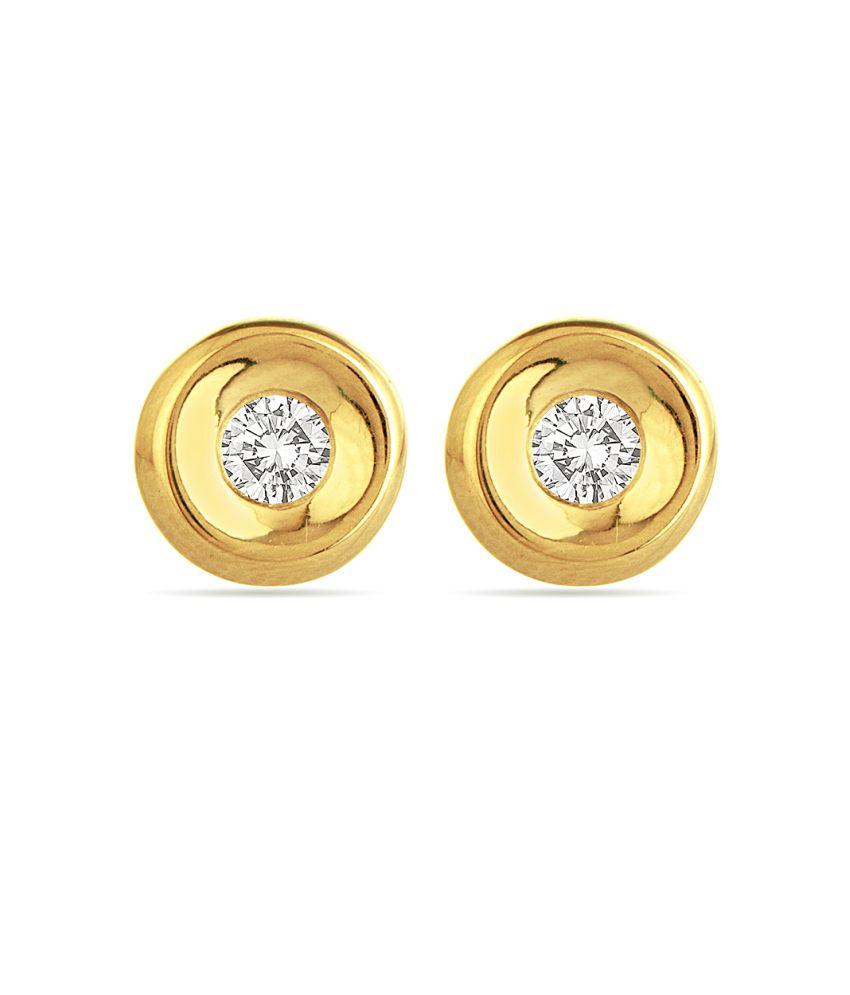 Voylla 18k Gold Hallmarked Round Shaped Stud Earrings With Swarovski Zirconia