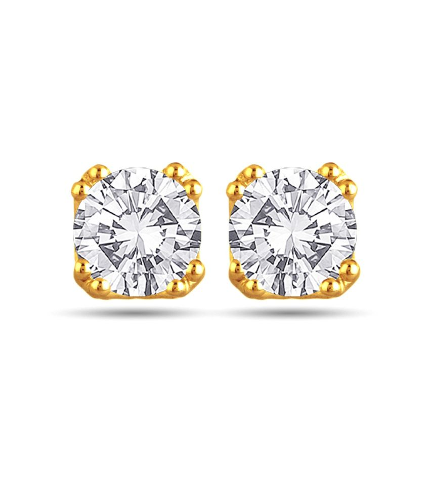 Voylla 18k Gold Hallmarked Round Shaped Stud Earrings With Swarovski Zirconia