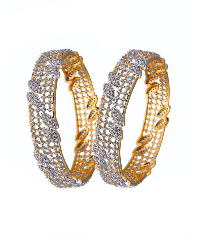 Alysa Bridgette Gold & Rhodium Plated American Diamond Bang...