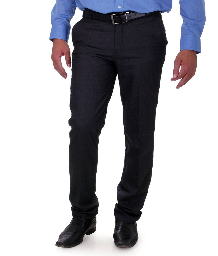 Cobb Gray Poly Viscose Flat Men Trousers