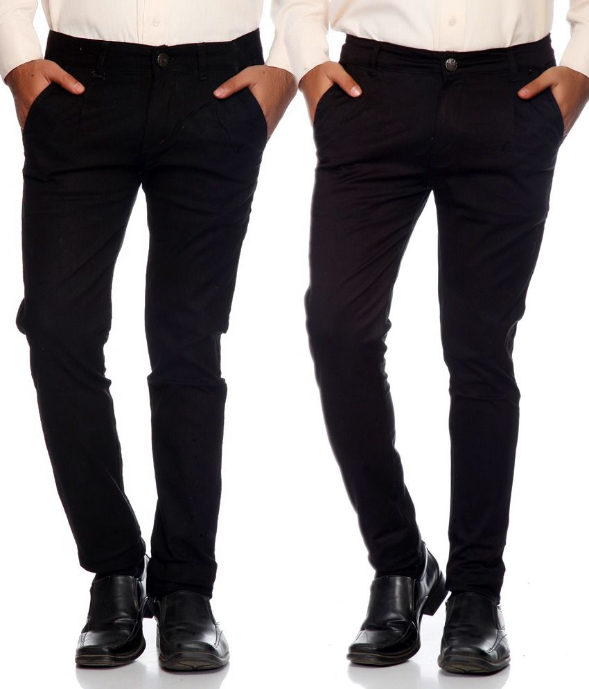 Haltung Black & Brown Cotton Blend Trousers