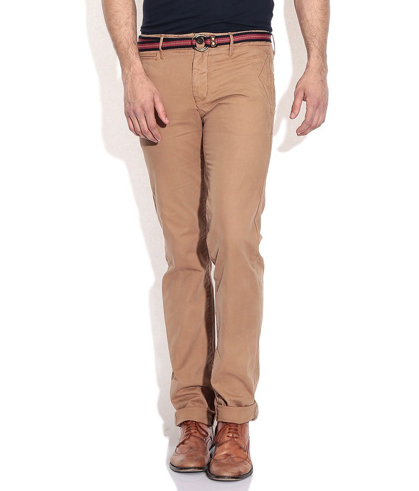 Indian Terrain Khaki Cotton Regular Casuals Chinos