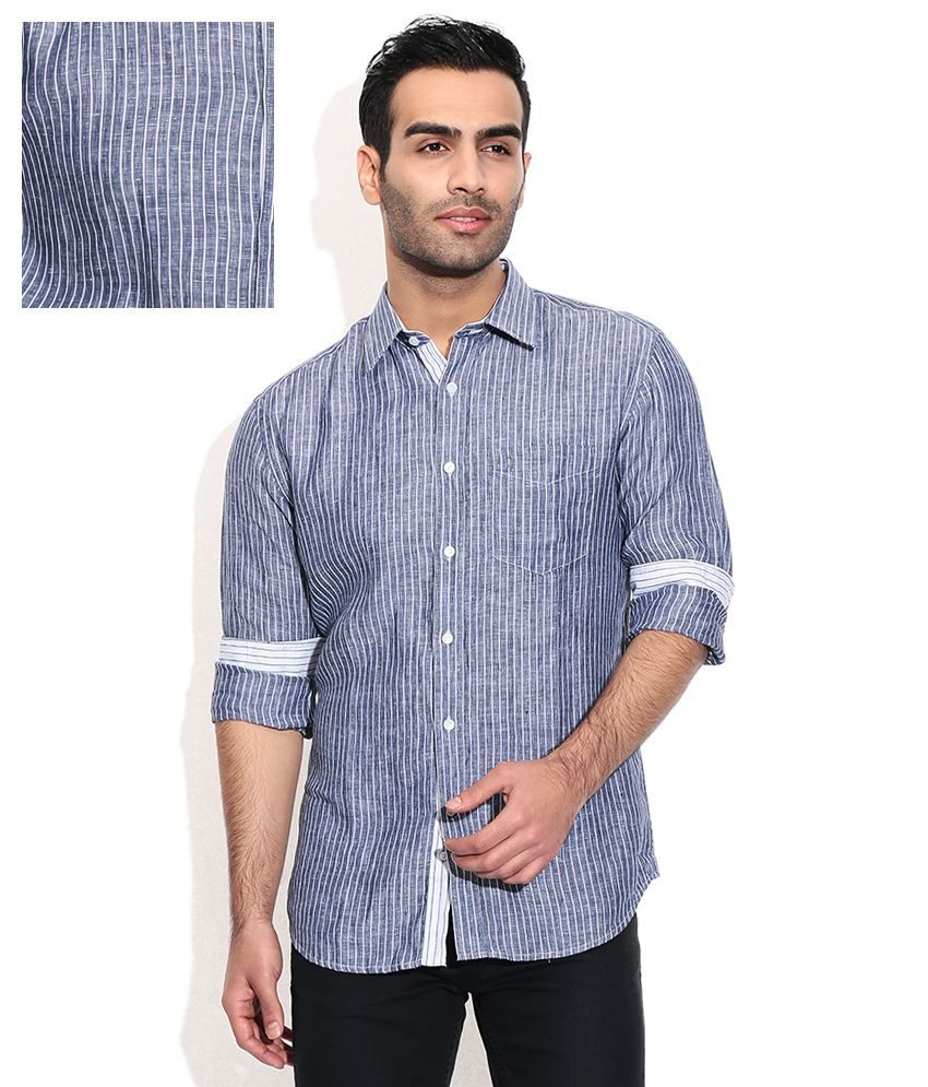 e926050f36 Indian Terrain Navy Linen Stripes Formals Men S Shirt - Buy Indian Terrain  Navy Linen Stripes Formals Men S Shirt Online at Best Prices in India on  Snapdeal