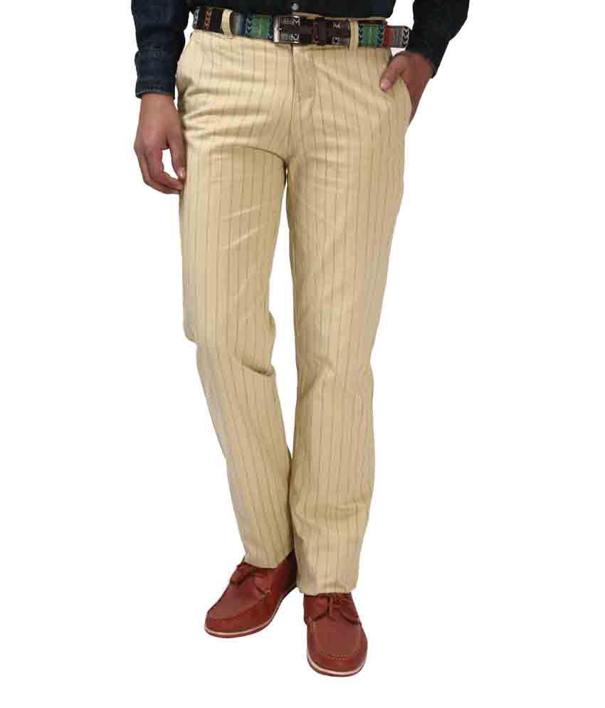 Koutons Khaki Cotton Regular Flat Trouser