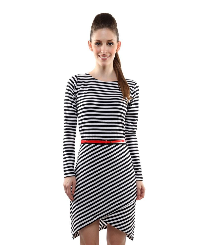 a98f1ddf56 Miss Chase Black Cotton Mini striped Dresses For Women Full Sleeve Round  Neck Casual Wear - Buy Miss Chase Black Cotton Mini striped Dresses For  Women Full ...