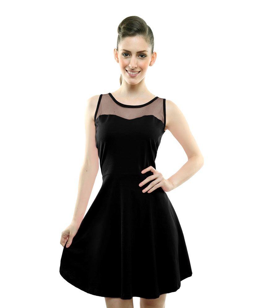 8c7654d5fde Miss Chase Black Cotton Mini skater Dresses For Women Sleeveless Round Neck  Party Wear