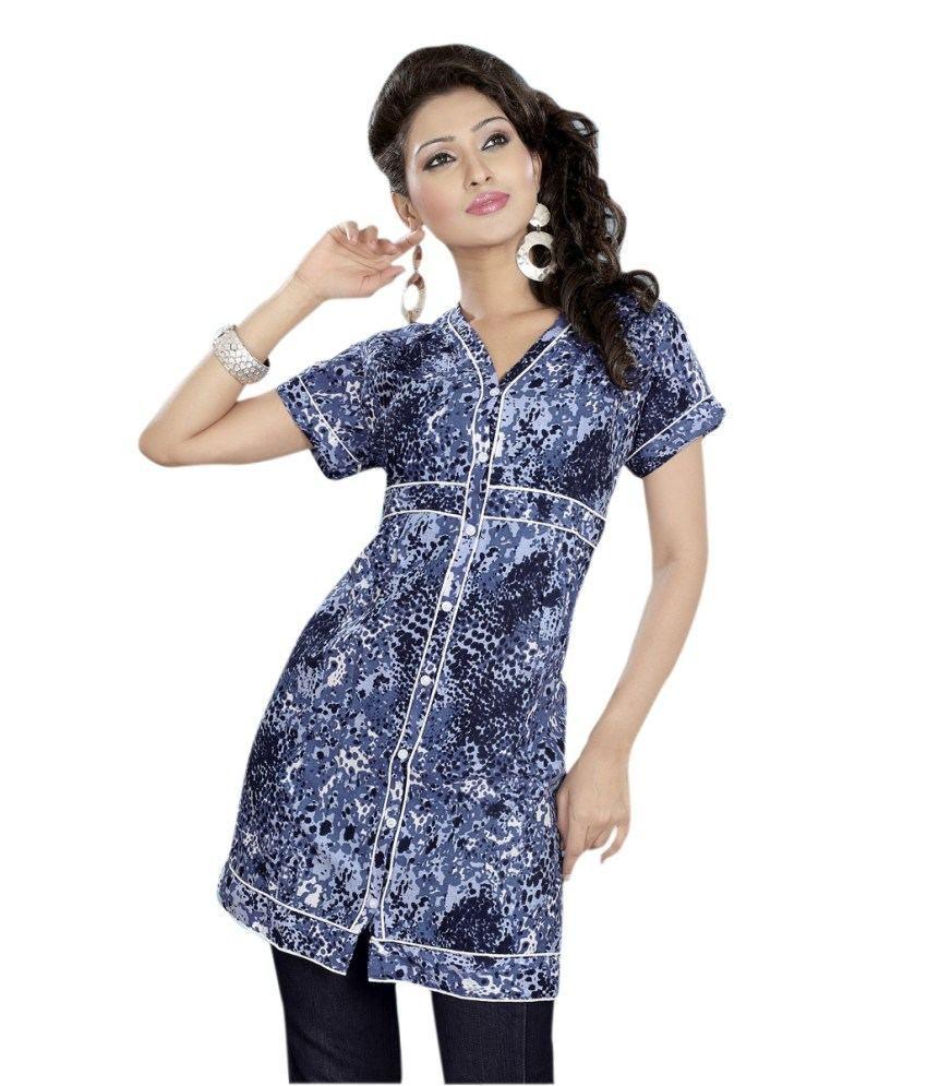 Triveni Half-sleeved V Neck Blue Cotton Kurti