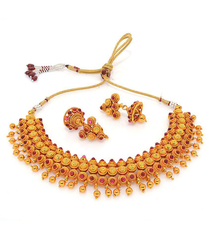 Alankruthi Traditional Gold Plated Designer Necklace Set