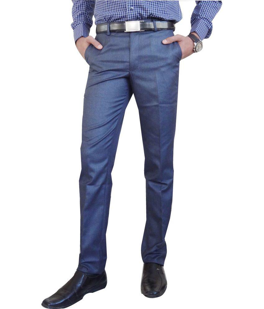 AD & AV Blue Poly Viscose Trouser