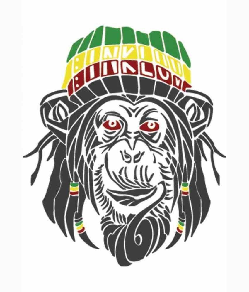 Tribal Monkey Design Printed White Half Sleeve Mens T Shirt Buy
