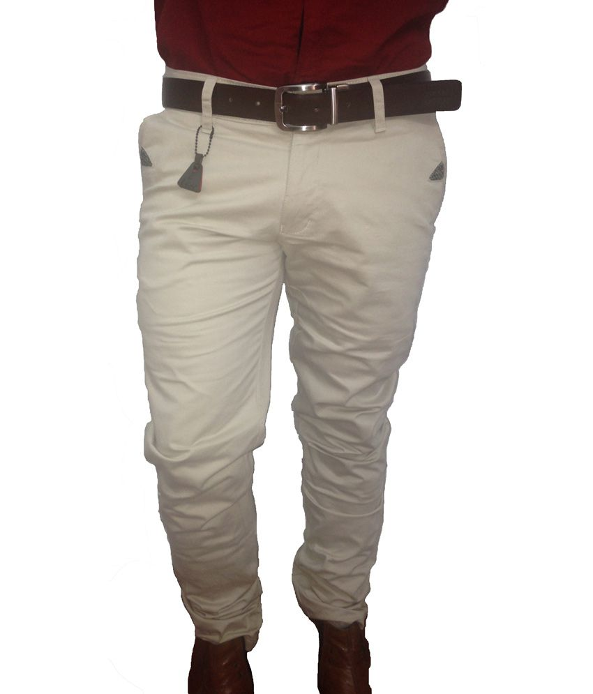 I-code White Cotton Lycra Regular Fit Casual Wear Chinos