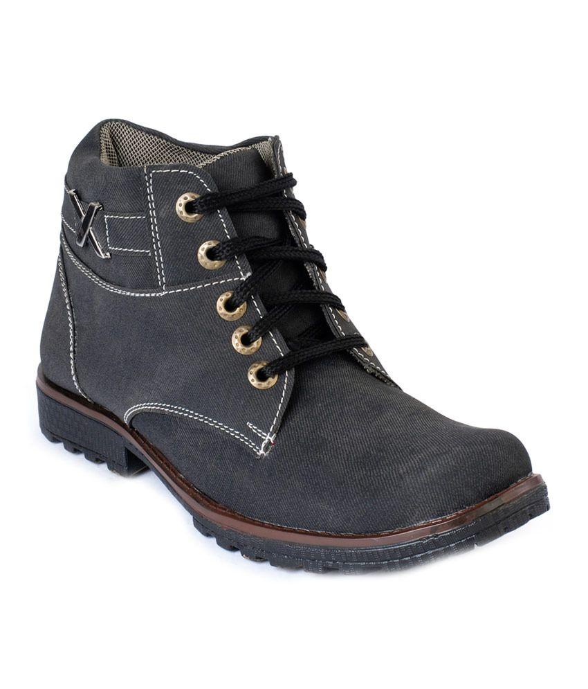 Windus Black Faux Leather Lace Boot