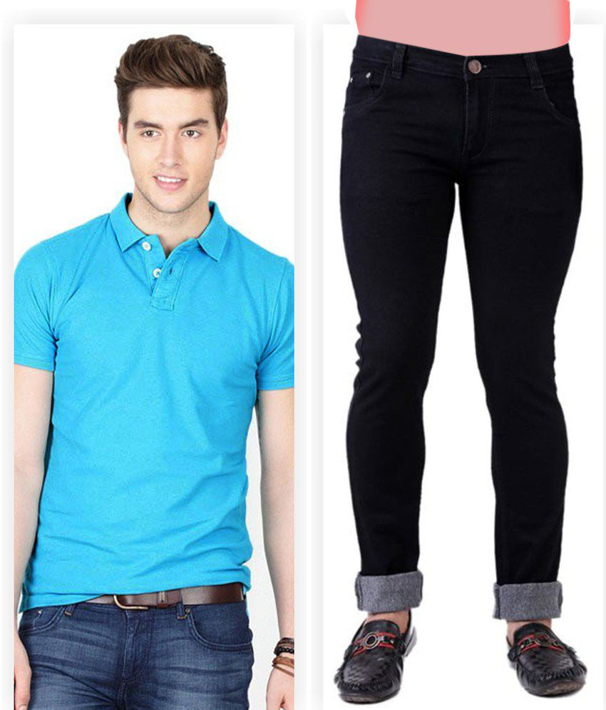 Haltung  Black Jeans & Blue Polo T Shirt Combo