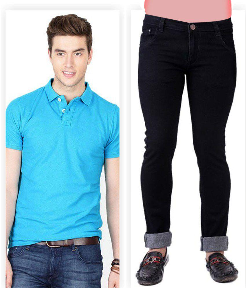 Haltung  Black Jeans & Blue Polo T Shirt Combo