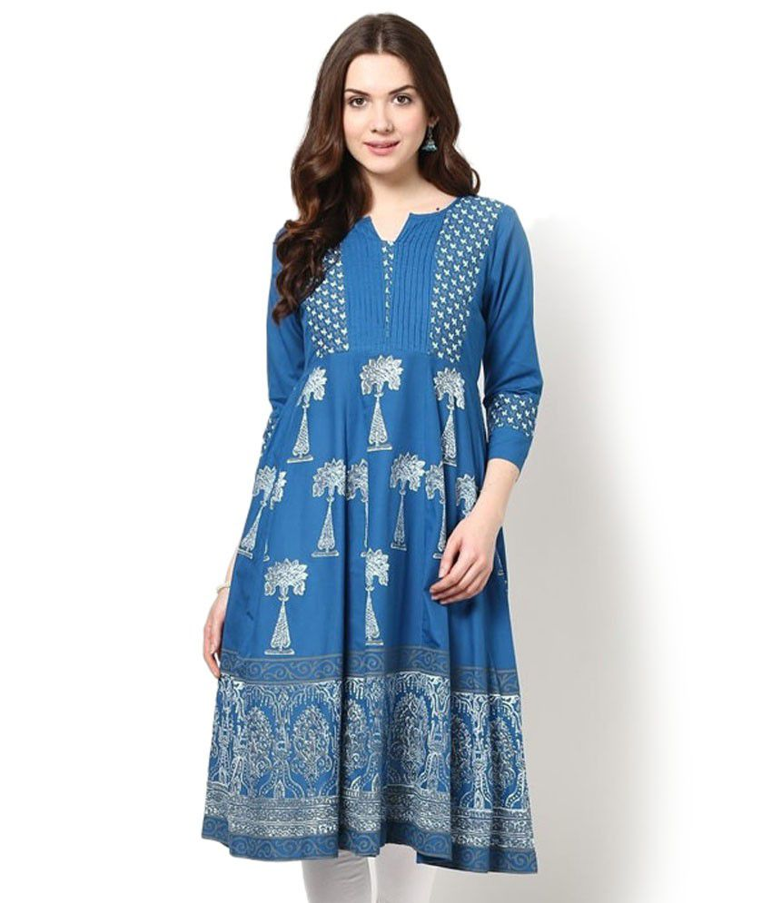 Bhama Couture Blue Cotton Printed Round Neck Long Kurti