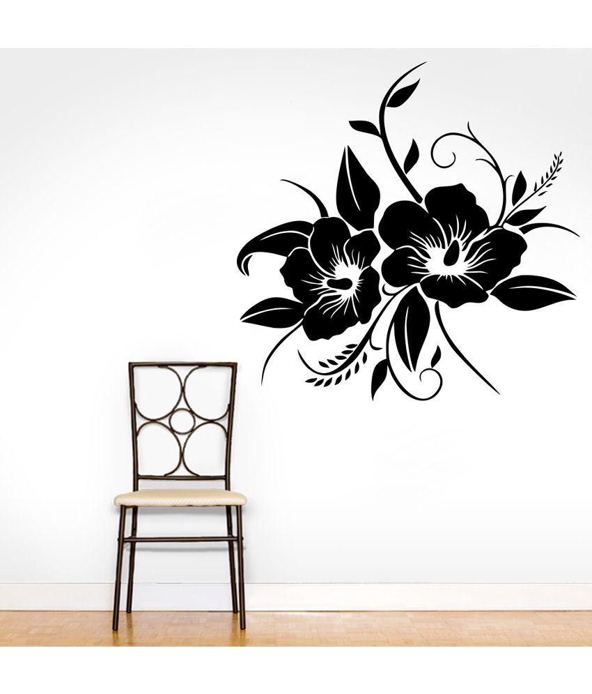 Decor Kafe Decor Kafe Black Rose Flower Wall Decal Medium Best Price