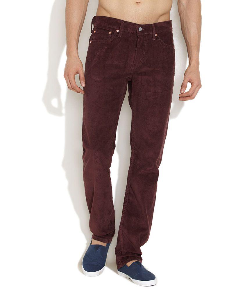 Levi's Dark Red Mr Stylish Slim Fit Corduroy Pants