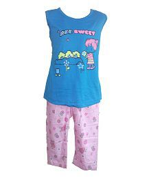 Instyle Sky Blue Cotton Girl's Nightset
