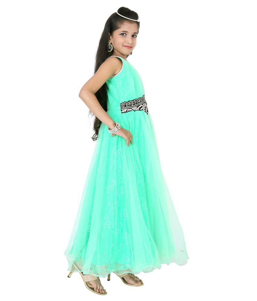 For Kids Green Long Sleeveless Party Wear Dresses - Buy For Kids ...