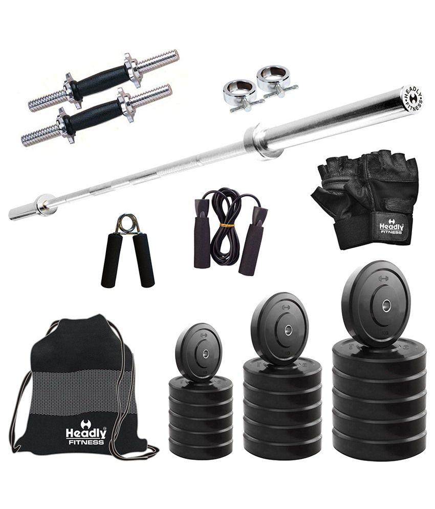 e9bad6e0ad2 HEADLY 40 Kg Convenient Home Gym + 4 feet plain Rod (Shoulder Bicep) ...
