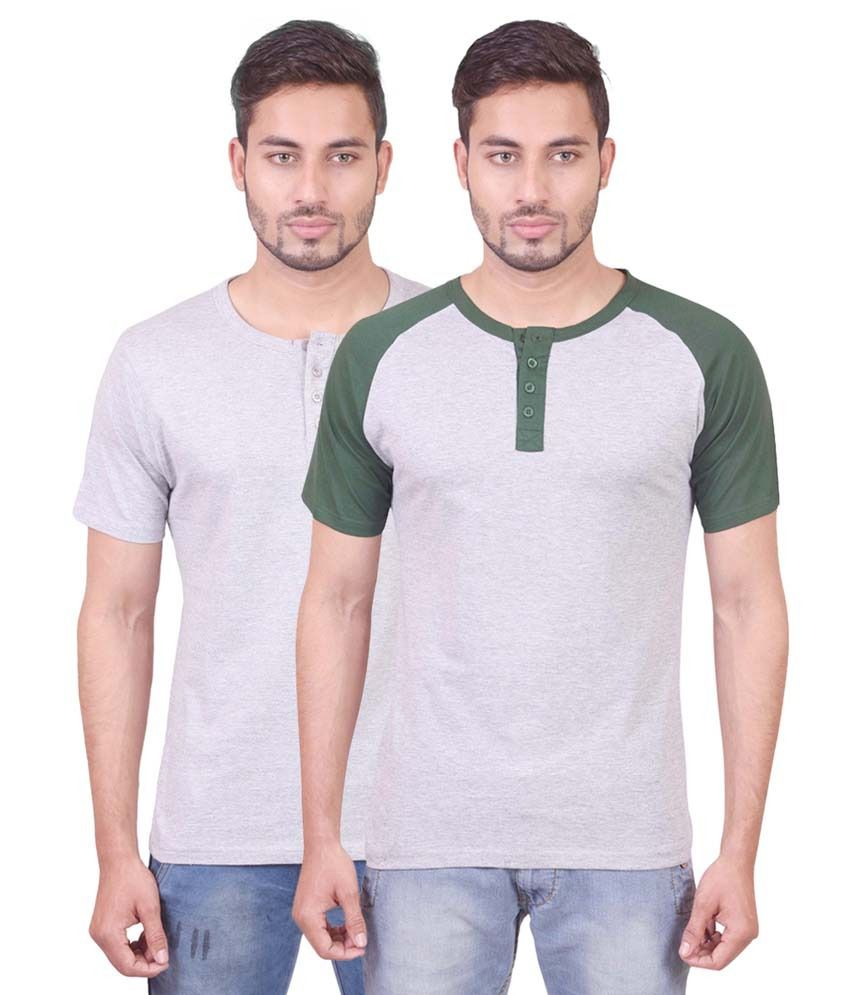 Indiemonk Henley And Raglan Henley T Shirts - Pack Of 2