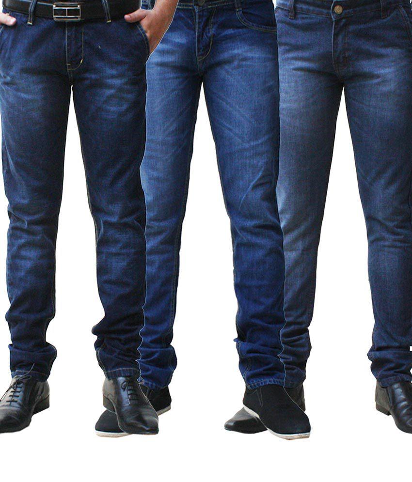 Ben Carter Men's Faded Jeans-combo Of 3