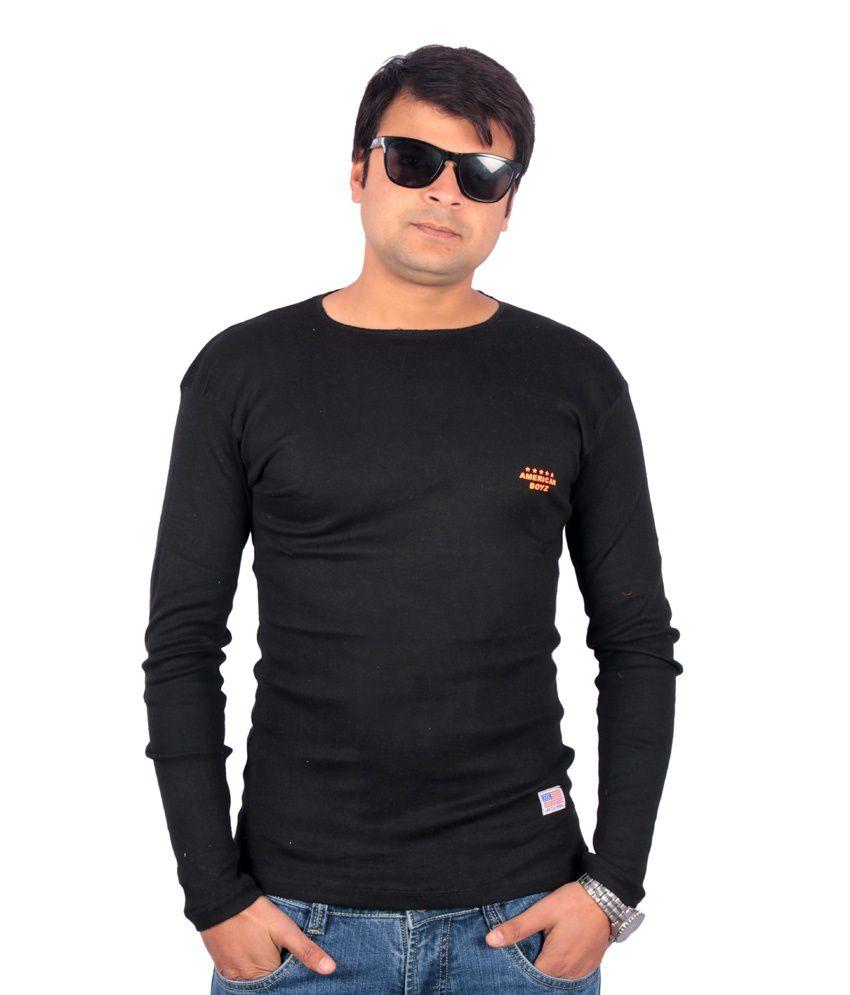 Centimeter Round Neck Trendy American Boys Series T- Shirt- Black