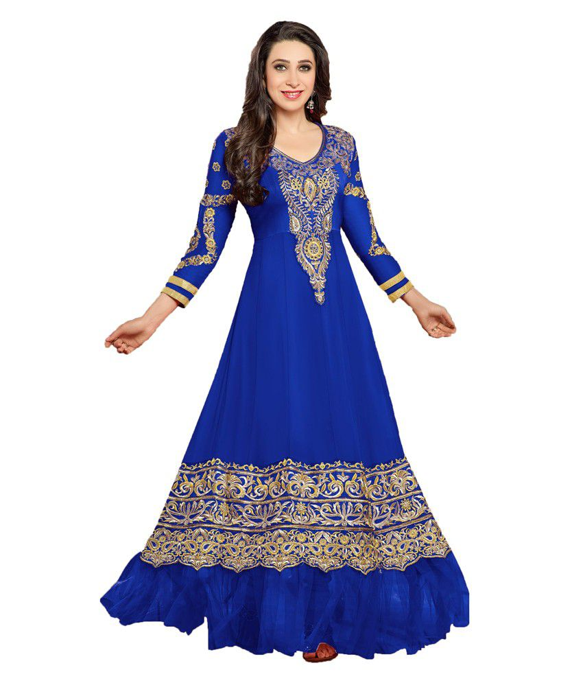 Indian wholesale clothing blue faux georgette unstitched for Cheap clothing material