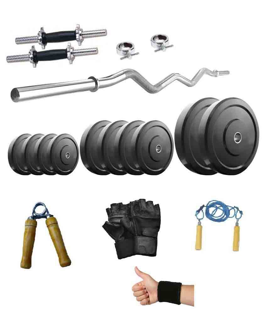 Factor Power 32 Kg. Rubber Weight Plates + Dumbell Rods