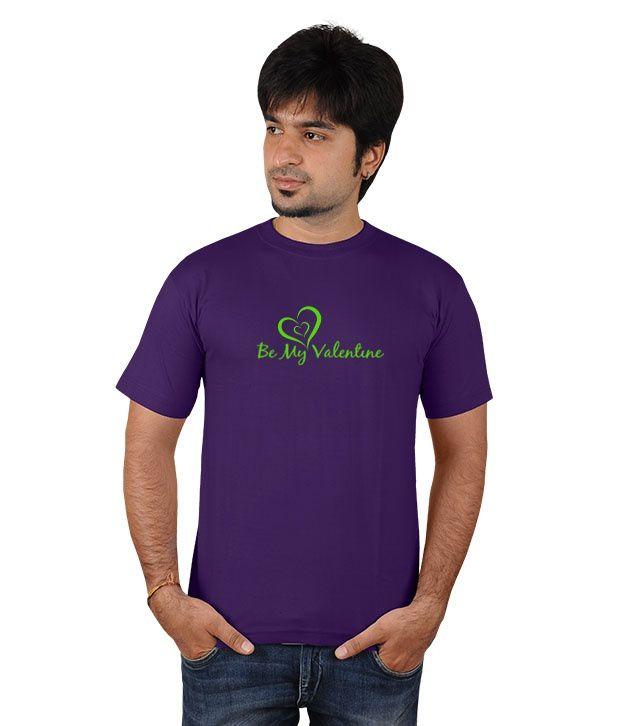 Softwear Purple Cotton Valentine Printed Round Neck T-shirt